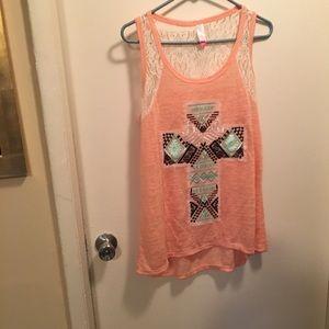 No Boundaries Tank tshirt cotton & lace